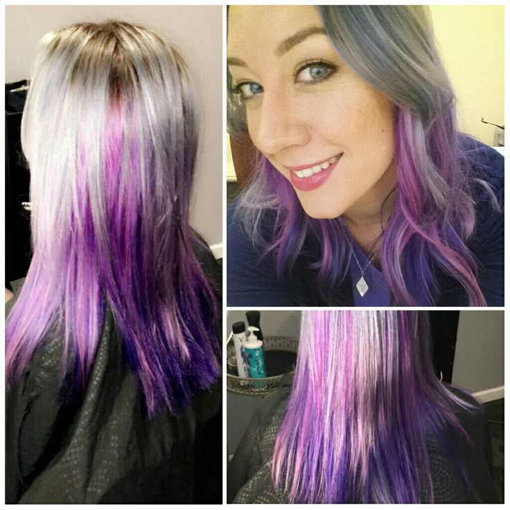 Blue/grey layered over two shades of purple & fusia dyed hair. It creates a metallic look, such a beautiful look created by Ashley Abbott @ Salon Daze (Phx, AZ)