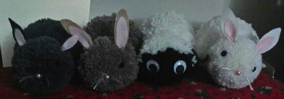 Pom pom bunnies and sheepy!