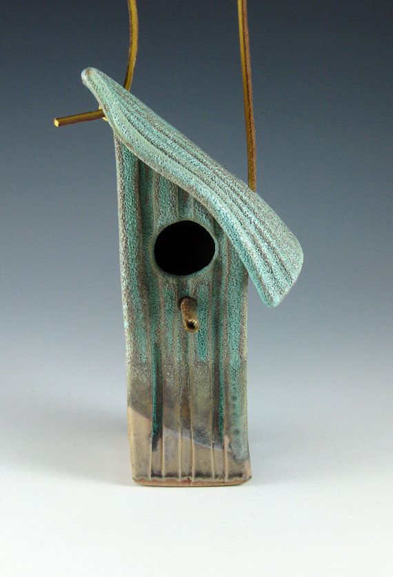 I like the location of the second peg in the roof - etsy - botanic2ceramic - $48