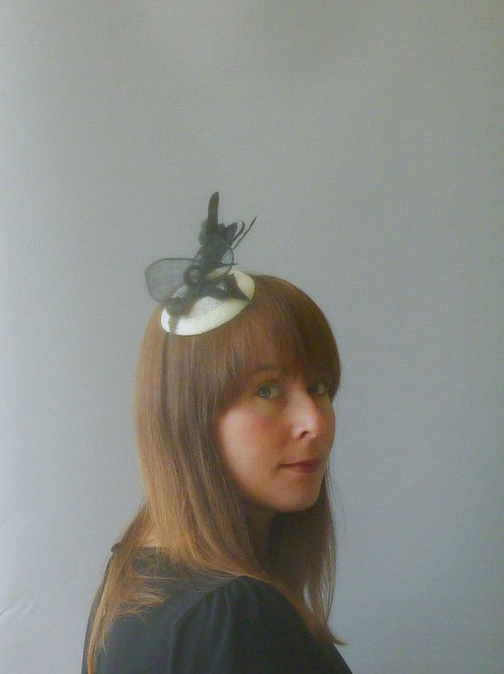 Black and Ivory Fascinator Cocktail Hat. Sinamay by SophieShields, £25.00