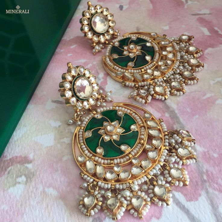 This wedding season adorn these green alluring chaandbalis with kundans and pearls for an outstanding look. By Ra Abta, available at Minerali. #minerali_store #earrings #chaandbalis #kundans #pearls #green #jewellery #accessories #fashion #style #designer #raabta #love #linkingroad #bandra #minerali