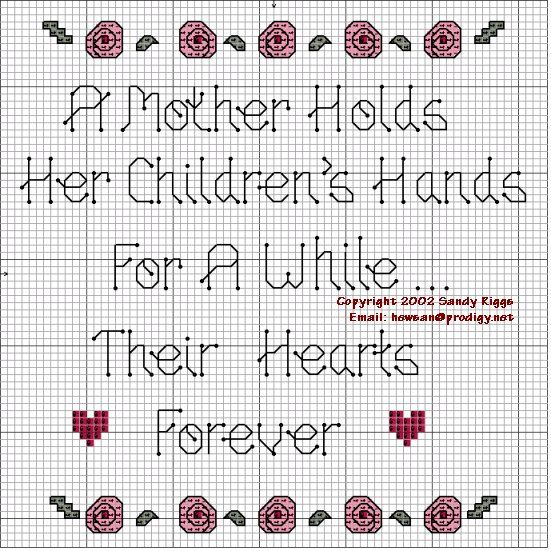 """""""A Mother Holds Her Children's Hands For A While...Their Hearts Forever"""" Cross Stitch Pattern"""