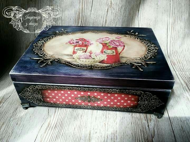 #vintage #decoupage #wooden #box #handmade #rękodzieło