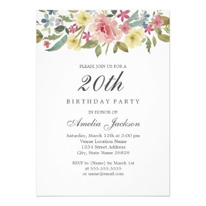 Blush Botanical Watercolor 20th Birthday Party Card - spring gifts beautiful diy spring time new year