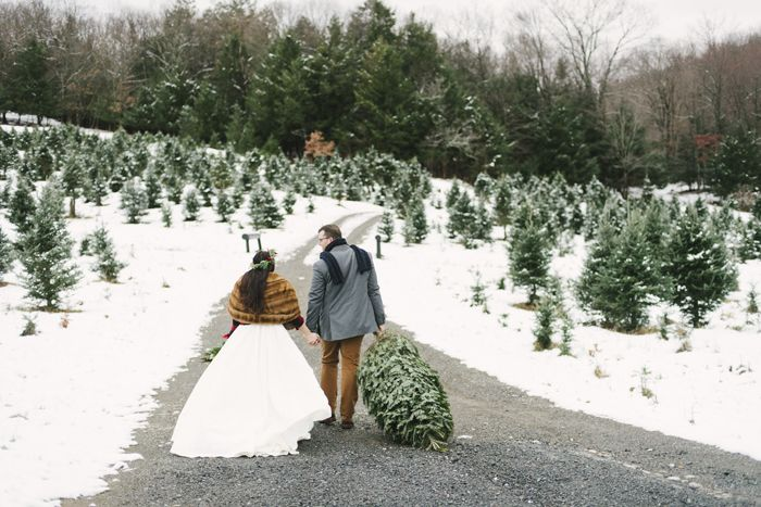 Christmas Tree Farm Styled Shoot Today S Bride Christmas Tree Farm Farm Wedding Christmas Wedding Inspiration