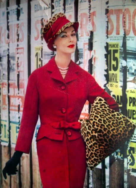 Cherry red and leopard print, La Femme Chic, 1956