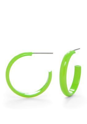 Kim Rogers  Lime Green Spaghetti Hoop Earrings