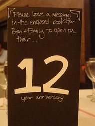 Each table is assigned a number & everyone writes a letter, note, advice, etc...for the couple to read on that anniversary= PRECIOUS. Love this idea