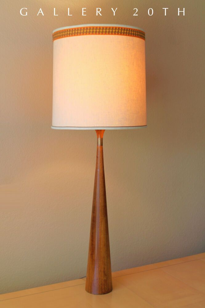 Wow Hansen Mid Century Danish Modern Table Lamp Teak Atomic Vtg