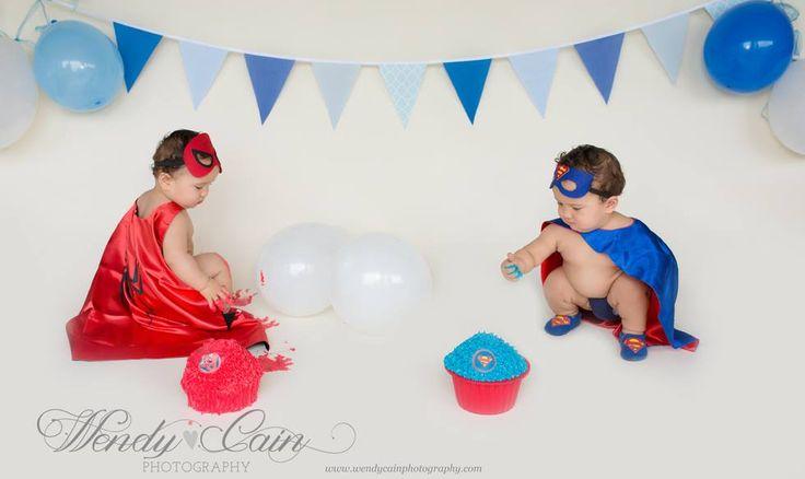 Super Hero Twins Cake Smash Photo Shoot. Mixed Blue Bunting $6.00 a metre  Photo Credit: Wendy Cain Photography, New Zealand