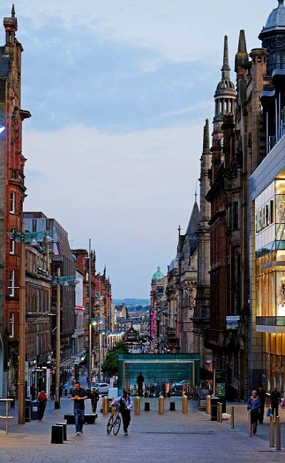 Glasgow at dusk.. Buchanan Street, Scotland