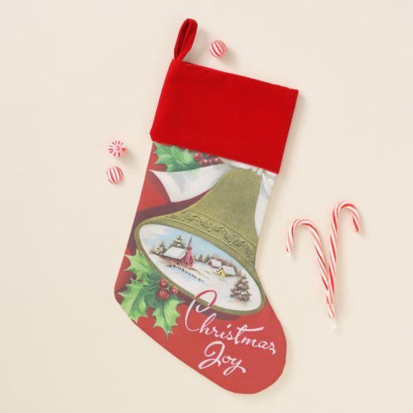 Vintage Christmas joy retro stocking #stocking #christmas #sock #xmas