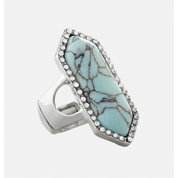 Avenue Long Stone Trim Stretch Ring ($10) ❤ liked on Polyvore featuring jewelry, rings, plus size, turquoise, stretch rings, imitation jewellery, green turquoise jewelry, blue turquoise jewelry and long jewelry