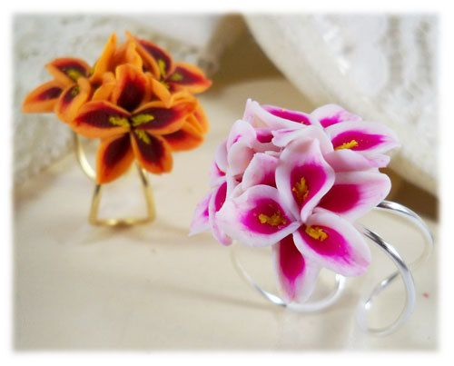 Stargazer Lily Bouquet Ring  Flower Cluster by strandedtreasures, $30.00