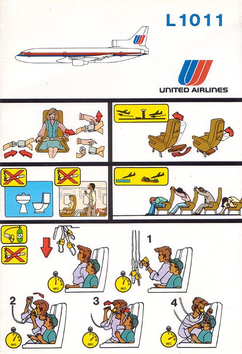 united airlines lockheed l-1011 safety card
