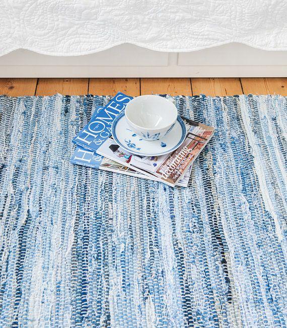 Swedish washable jeans floor runner & rug by Skandihome on Etsy