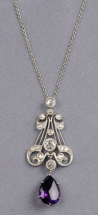 Art Deco Amethyst and diamonds pendant