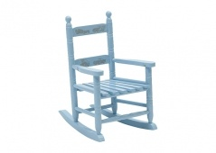Cars rocking chair in light blue painted wood.