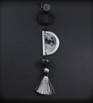 Crescent Moon necklace with turquoise and tassel – Folt Bolt Shop