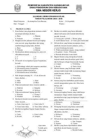 Soal Mulok Tata Busana Kelas X Genap Bullet Journal Journal