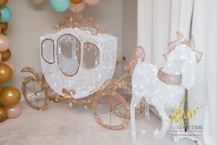 Props for hire/ rental in the Maryland, Washington, DC and Virginia areas. This magnificent LED horse and carriage would be perfect for a kids Princess themed party! #princessparty