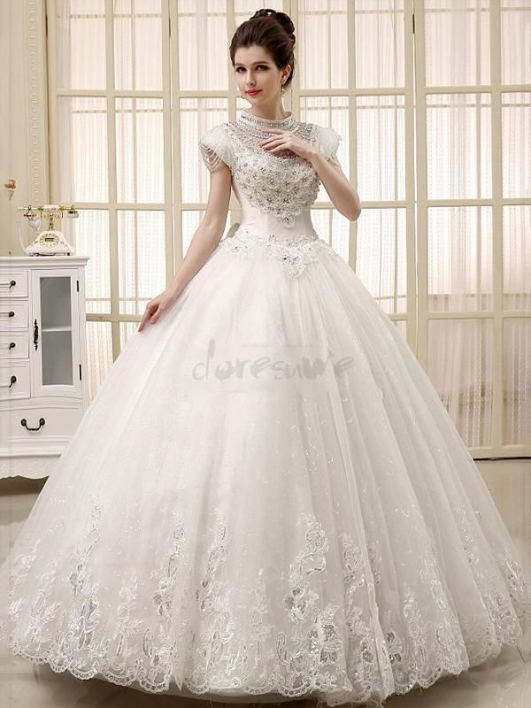 Doresuwe.com SUPPLIES 2016新品 襟付き 真珠飾り レース の綺麗目 ロングドレス 結婚式ドレス 花嫁ドレス ウェディングドレス ウェディングドレス-2016