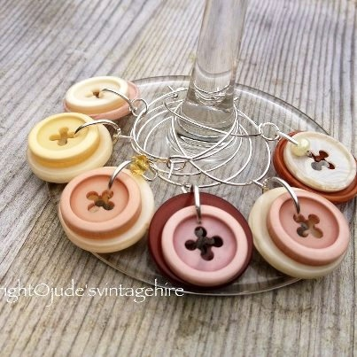 Rustic button wine charms set of 6 by judesvintage on Etsy, £4.99