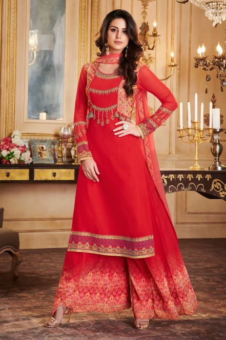 3038fde841 Apple Georgette Latest Palazzo Suit in Red | Designer DRESSES ...