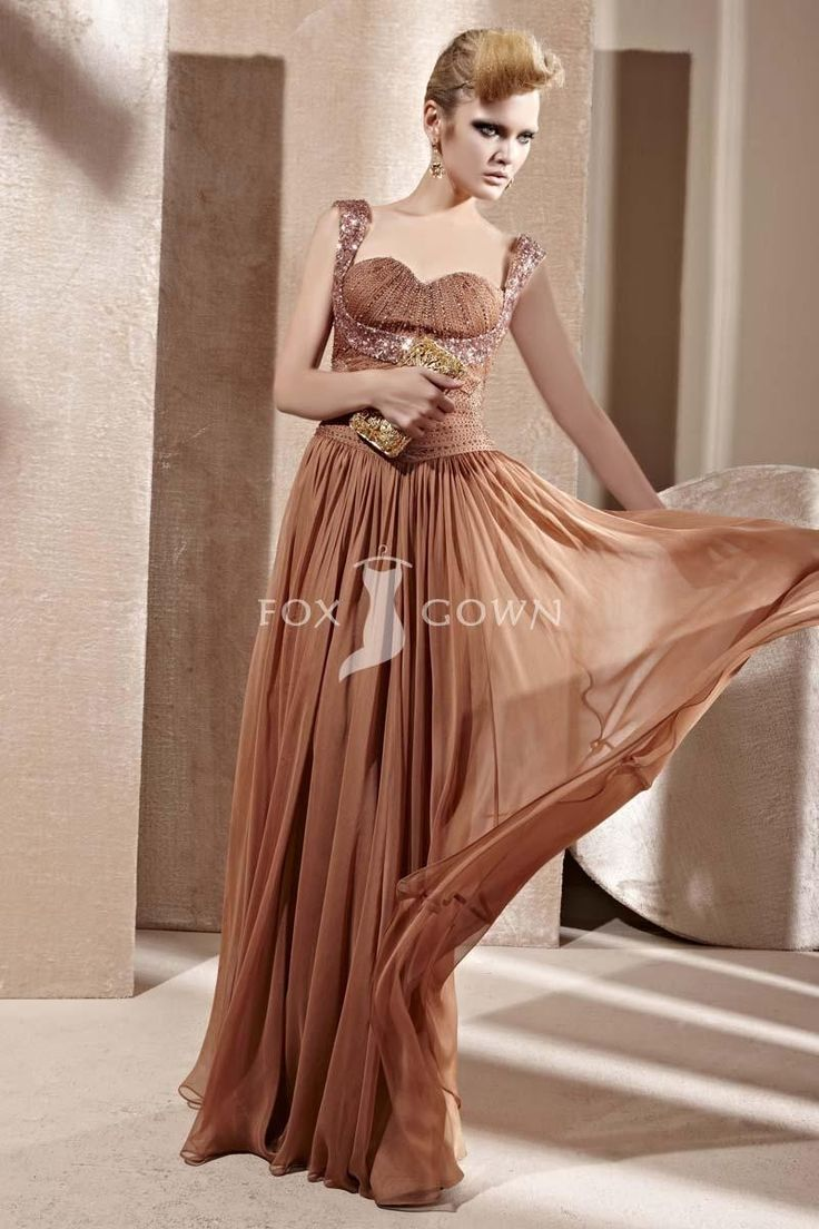 Braun Chiffon Mantel Abendkleid mit plissierten Mieder Sweetheart Hals und Beading Riemen $367 Abendkleider