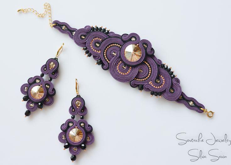 Purple / Gold / Black Soutache earrings and bracelet with Swarovski rivoli