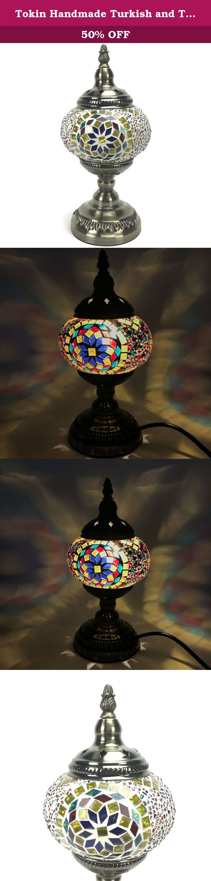 Tokin Handmade Turkish and Tiffany - Style Mosaic Glass Table Lamb Beside Desk Light with Bronze Metal Base - Multi-Color Light. Important Safety Tips and Instructions: · For safety purposes, this lamp is equipped with a safe plug. If the plug does not fit securely into your outlet, do not force it, contact a professional electrician. Use the plug with an extension cord only if it can be fully inserted into the cord's socket. Never alter the plug in any way. · This instruction is provided...