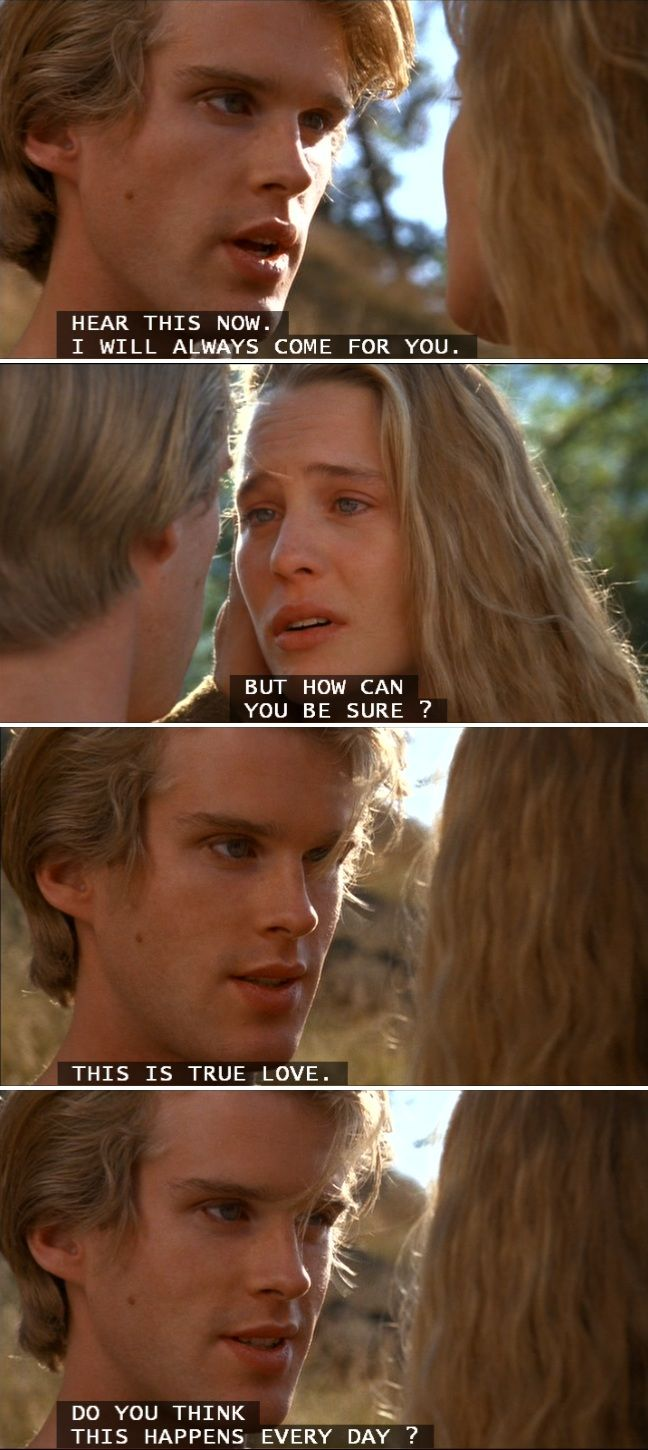The Princess Bride. First love movie (other than Disney) that I saw. I fell hopelessly in love with Cary Elwes. Too bad he's like, 50 now. But this movie has the best love. True love. <3