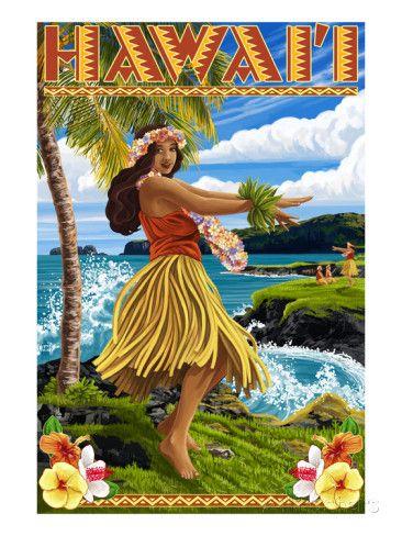 Hawaii Hula Girl on Coast Art by Lantern Press at AllPosters.com