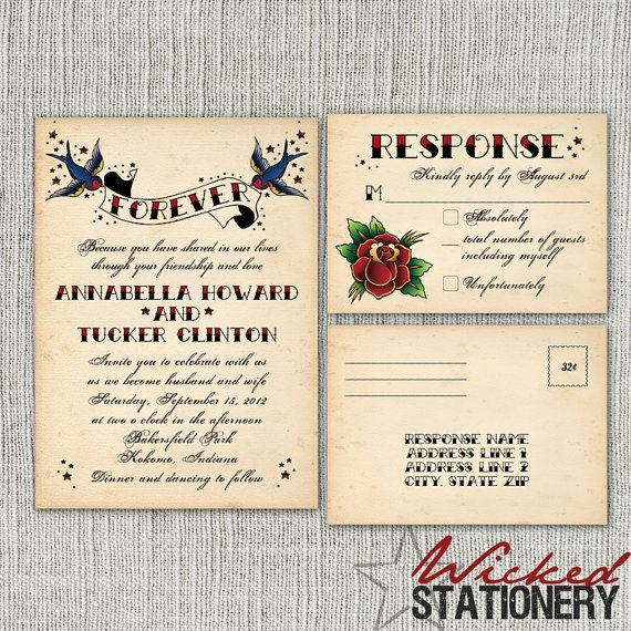 Vintage Tattoo Wedding Invitation And RSVP By WickedStationery, $1.25