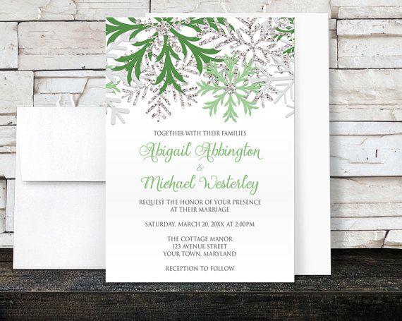 Winter Wedding Invitations  Green Snowflake by ArtisticallyInvited