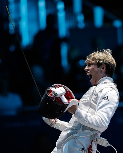 Peter Joppich of Germany reacts after his match against James-Andrew Davis of Great Britain, during the individual foil fencingPhotograph: Andrew Medichini/AP