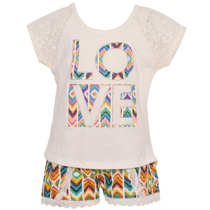 "Dollhouse Little Girls Ivory ""Love"" Aztec Lace Trim 2 Pc Shorts Outfit 2T. Cute outfit from Dollhouse. Ivory tee with ""Love"" patterned applique. Colorful Aztec printed shorts with lace trims. 60%Cotton, 40%Polyester, 100%Polyester. Machine wash cold tumble dry low, do not bleach wash with similar colors. Sizing is based on U.S. clothing size standards."