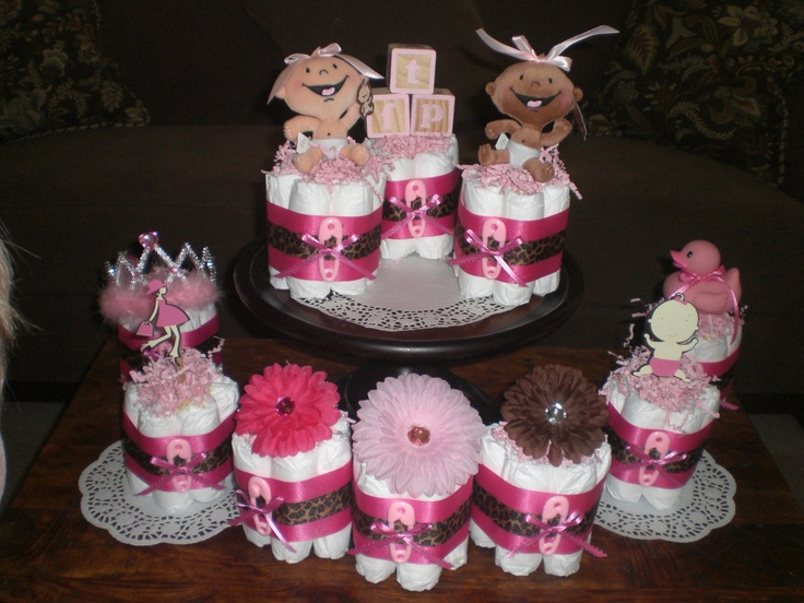 leopard or cheetah mini diaper cake baby shower other colors and sizes available too