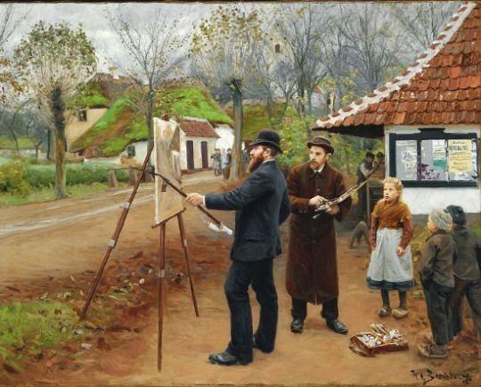 Laurits Andersen Ring painting near Aasum smithy, 1893, Hans Andersen Brendekilde