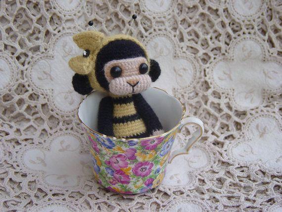 OOAK Crochet Angora Monkey Doll Bumble Bee