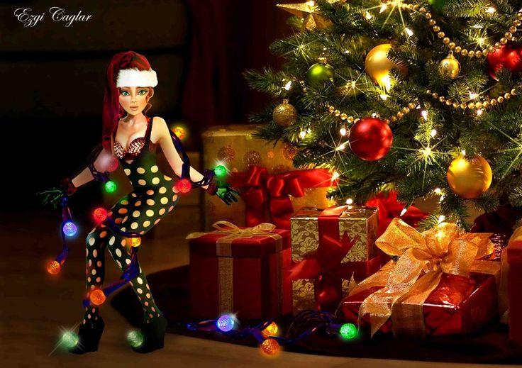 Chrismas Visitor  #digitalart #art #photoshop #christmas #santa #elves #lights #noel #cookies #thief #glimmer