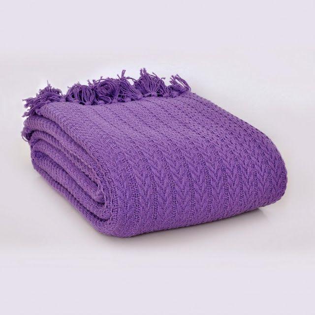 Woven cotton throw / blanket purple