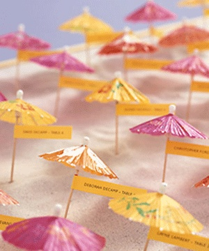 umbrella seating cards - think they make them in teal?