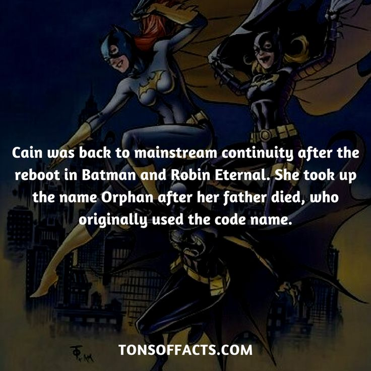 She was back to mainstream continuity after the reboot in Batman and Robin Eternal. She took up the name Orphan after her father died, who originally used the code name. #cassandracain #tvshow #justiceleague #comics #dccomics #interesting #fact #facts #trivia #superheroes #memes #1 #movies #batman #batgirl