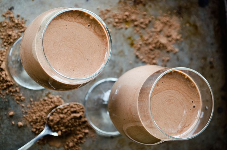 Raw Chocolate Smoothie :: Serves 1 /  1 frozen banana, sliced 1/2 avocado, pitted, chopped 2 tbsp raw cacao powder 1 tbsp raw honey 1 cup raw almond milk  //Toss all ingredients in a blender and mix on high until smooth.