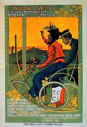 Marcello Dudovich, Convegno turistico di ciclismo e automobilismo Bologna 1899, cm 215 x 110