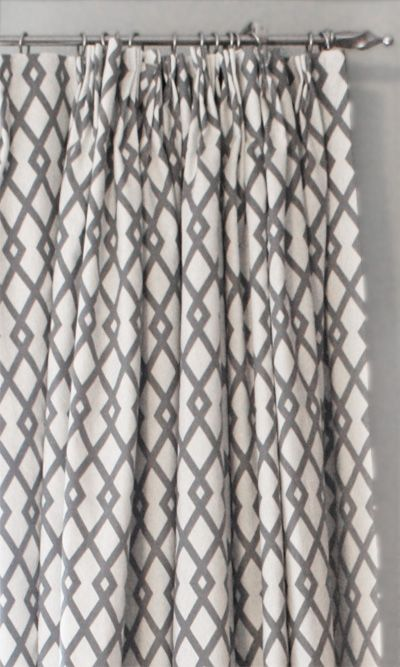 grey and white trellis fabric make lovely curtains (by Tonic Living). home decor decorating grey gray geometric cotton sewing material textile trellis curtains trellis drapes