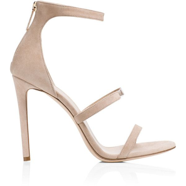 Tamara Mellon - Horizon Suede Sandal - Nude - 41/11 (£455) ❤ liked on Polyvore featuring shoes, sandals, heels, apparel & accessories, nude sandals, see-through shoes, suede shoes, transparent heel shoes and multi color sandals