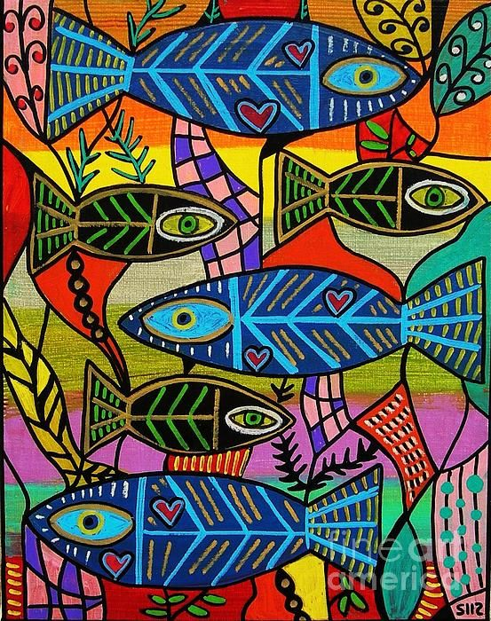 fish, sandra silberzweig.......This is not a mosaic, but the colours & design are inspirational