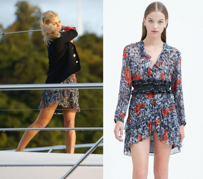 Sophie Monk wears this printed rose mini dress in this episode of The Bachelorette Australia on Wednesday the 11th of October 2017. It is the IRO Vilia Dress.